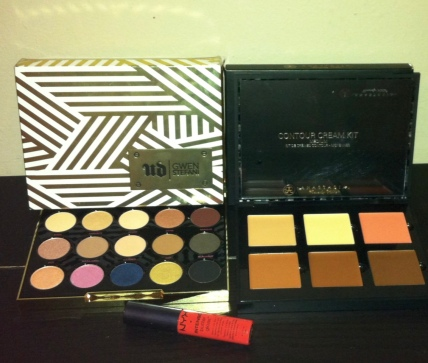 Nude Beauty Eyeshadow Palette, Anastasia Contour Palette and NYX Intense Lips