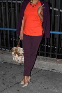 Orange Top, Purple Pants